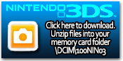 Click this button to download a free sampler ZIP containing 3D .MPO photos and .AVI videos for the Nintendo 3DS. Simply unzip the contents of the ZIP into your 3DS SD card here: \DCIM\100NIN03\